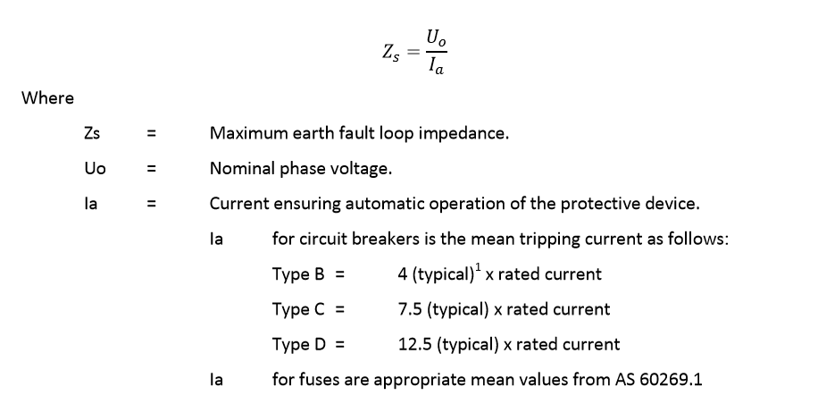 Maximum earth fault loop impedance equation from AS NZS 3000 Wiring Rules.
