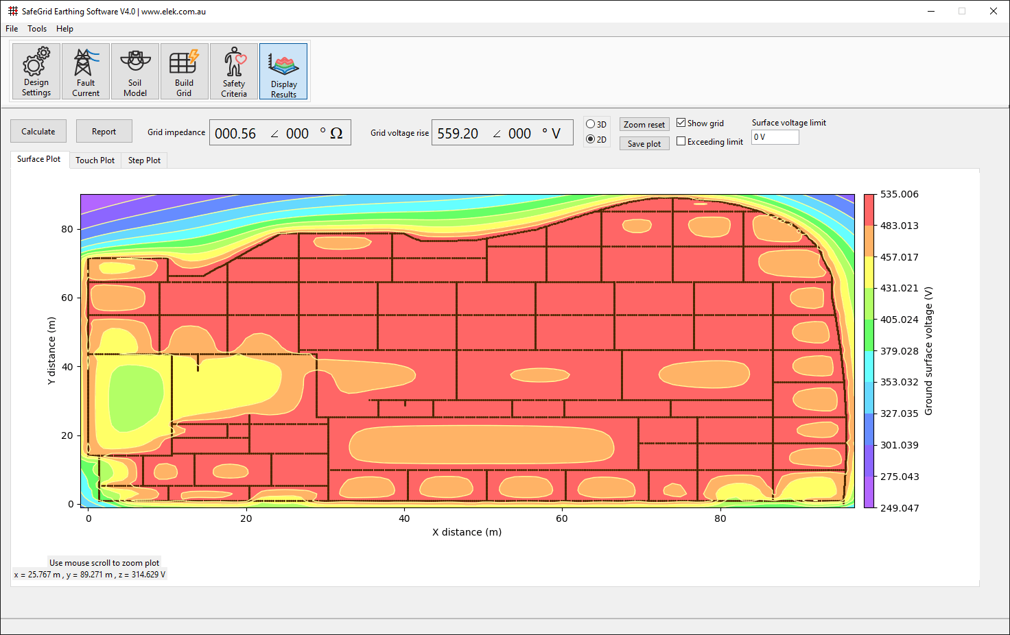 SafeGrid Earthing_Display Results_Grid Resistance 2D contour plot