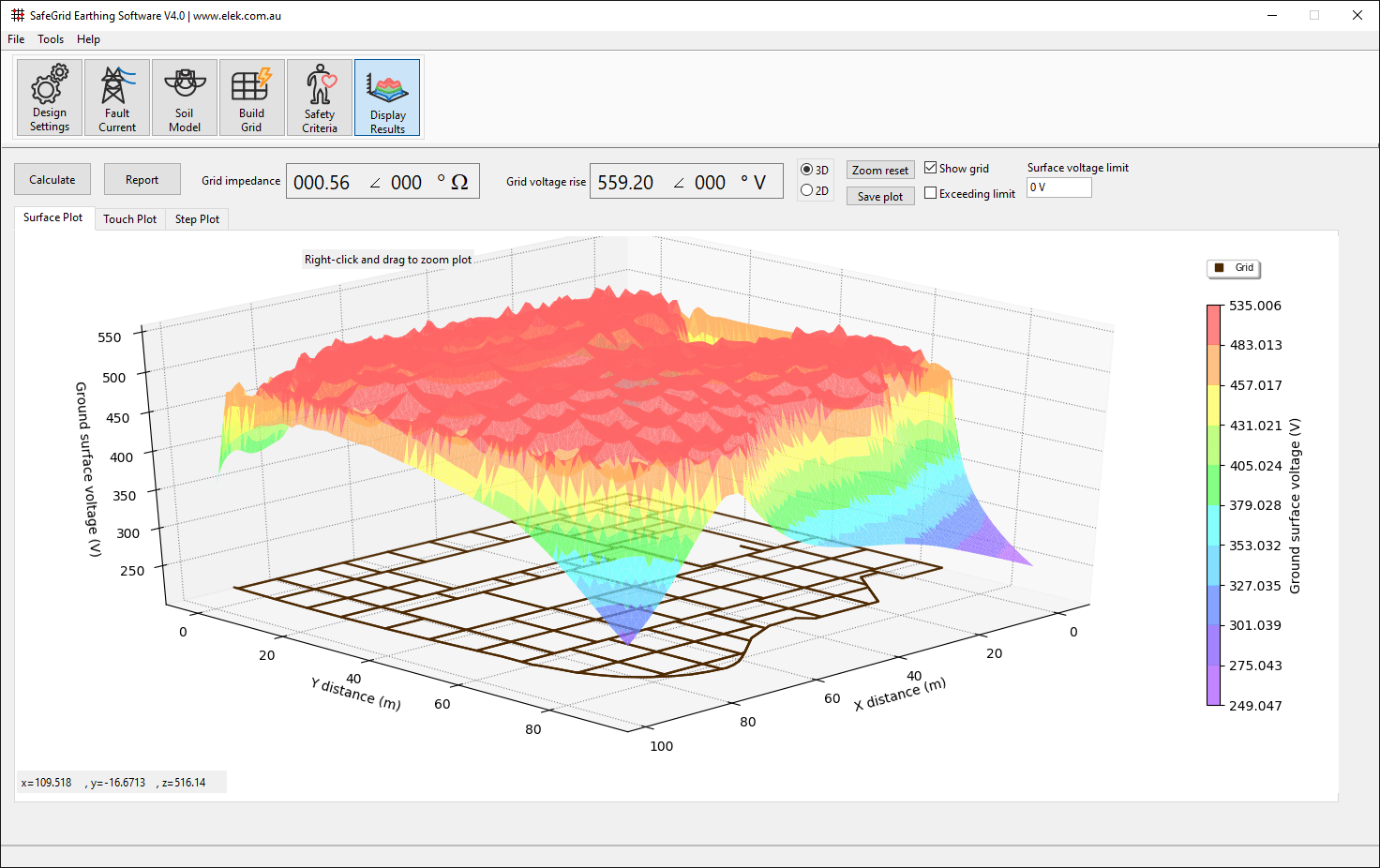 SafeGrid Earthing_Display Results_Grid Resistance 3D surface plot