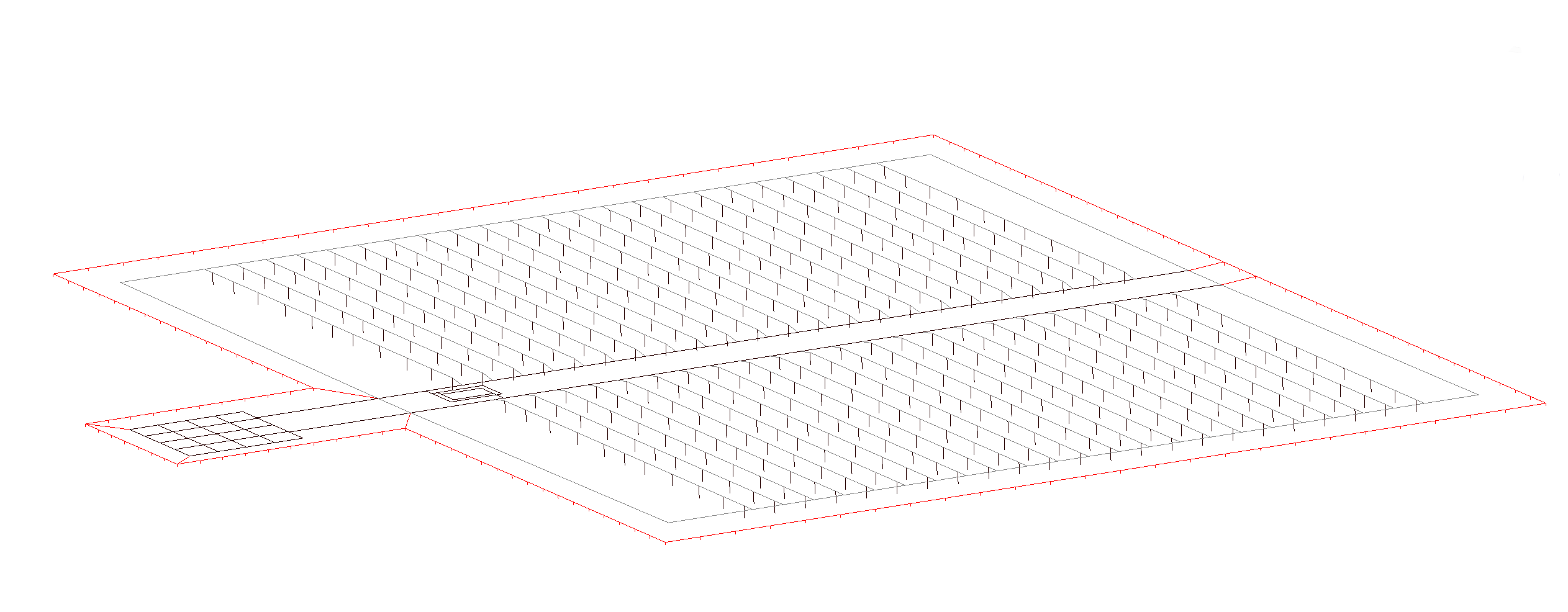 Appendix image 3 Main PV grid auxilliary substation fence earthing model in CAD - Earthing Design and Modelling Guide for Solar Farms